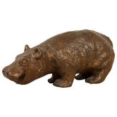 Cast Bronze Hippo Sculpture