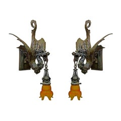 Cast Bronze Medieval Gothic Dragon Sconce, Pair