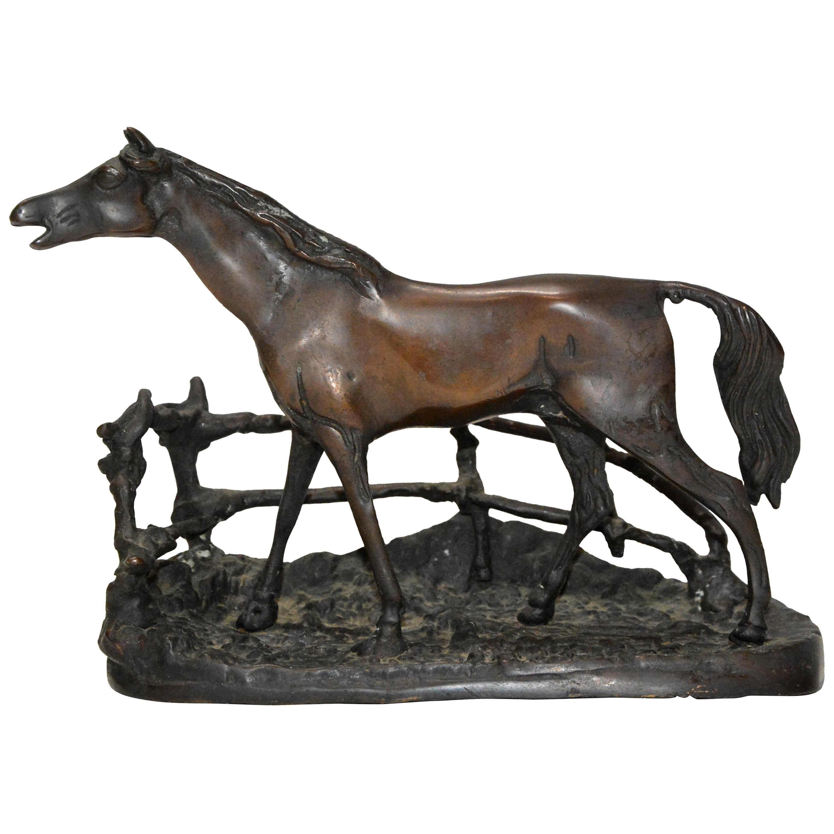 Cast Bronze Metal Horse with Rambling Fence