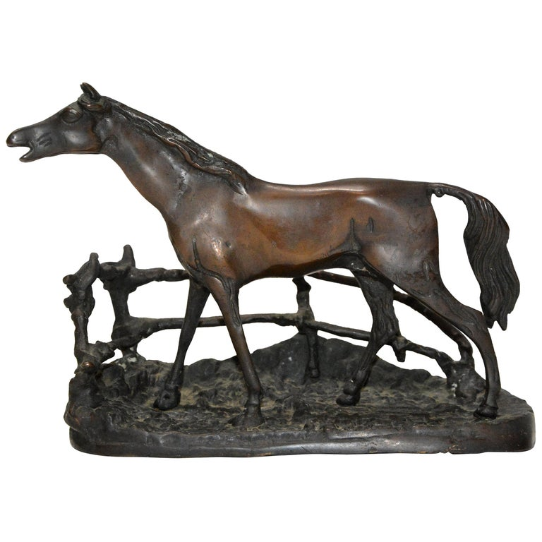 Cast Bronze Metal Horse with Rambling Fence For Sale