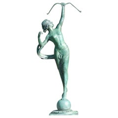 Cast Bronze Sculpture of Diana, Roman Goddess of the Hunt in Verde Bronze Patina