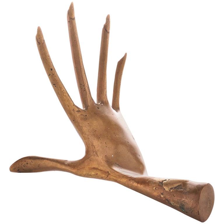 Cast Bronze Sculpture of Hand For Sale