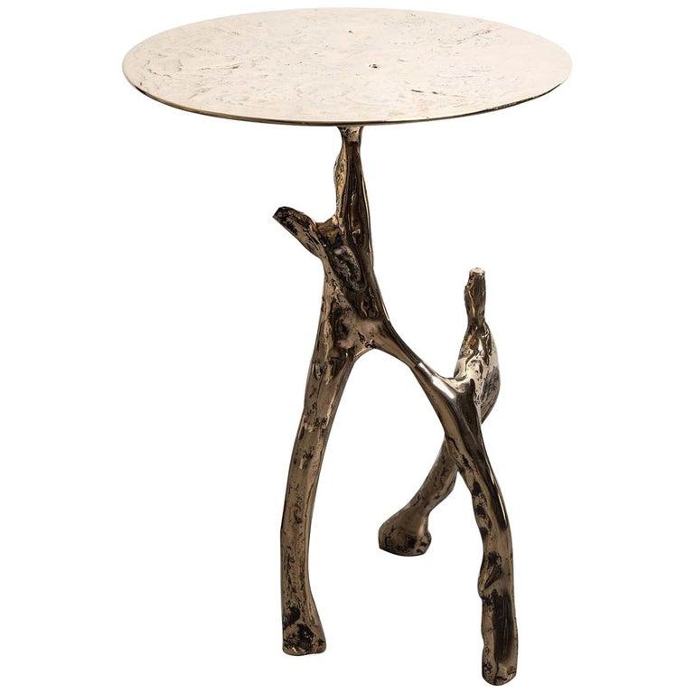 Cast Bronze Scultura Side Table For Sale