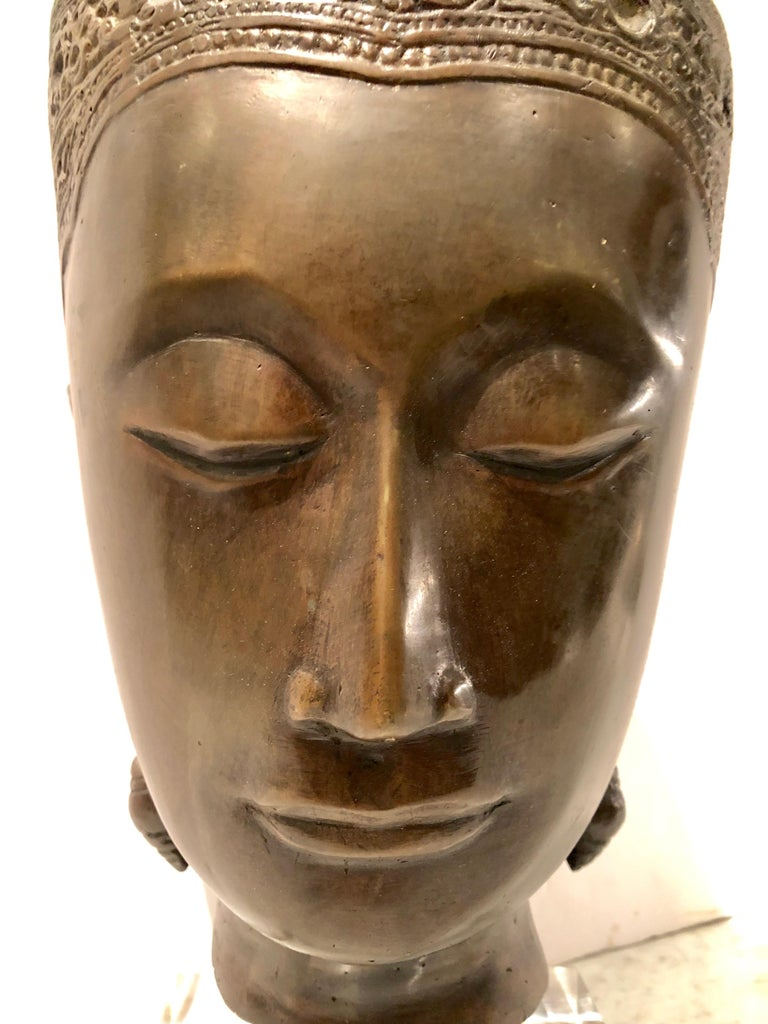 Cast Bronze Thai Deity Bust In Excellent Condition For Sale In Hopewell, NJ
