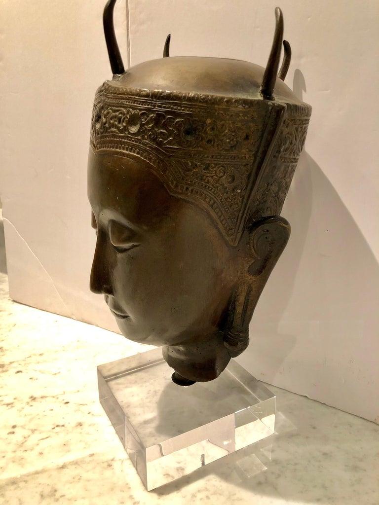 19th Century Cast Bronze Thai Deity Bust For Sale