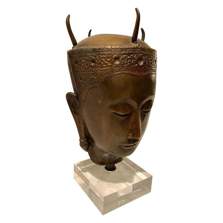 Cast Bronze Thai Deity Bust For Sale