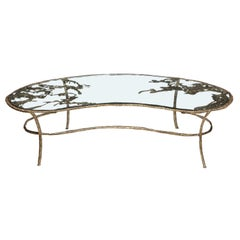 Cast Bronze Tiered Kidney Shaped Coffee Table with Glass Top, by Silas Seandel