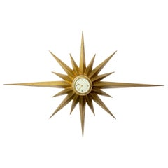 Cast Bronze Wall Clock, Swiss Machine, Clock Attributed to Maison Jansen, 1950
