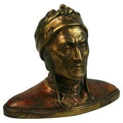Antique Cast Copper Bust/Sculpture of Dantes  1940