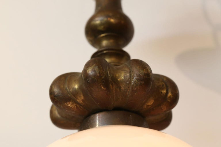 Cast French Bronze Pendant with Antique Milk Glass Shade In Good Condition For Sale In Houston, TX
