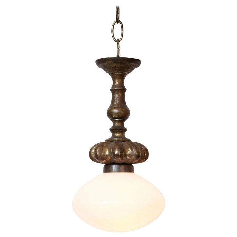 Cast French Bronze Pendant with Antique Milk Glass Shade For Sale
