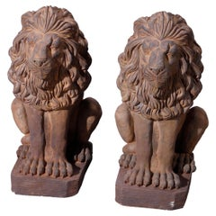 Cast Hard Stone Classical Seated Lion Garden Statues in Bronzed Finish, 20th C