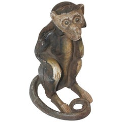 Cast Iron 19th Century Monkey Bank in Original Painted Surface