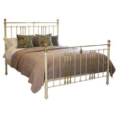 Cast Iron and Brass Bed in Cream MSK60