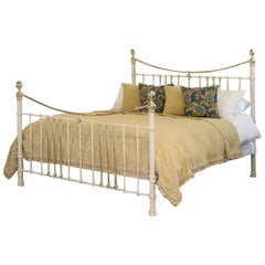 Cast Iron and Brass Bed in Cream MSK61