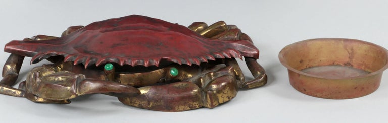 Late 19th Century Cast Iron and Brass Crab Box For Sale