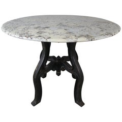 Cast Iron and Travertine Top Table