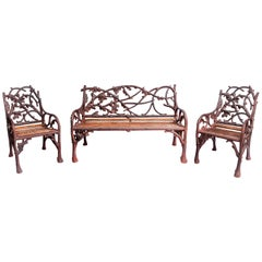 Cast Iron and Wood Garden Furniture Set, England, Late 19th Century