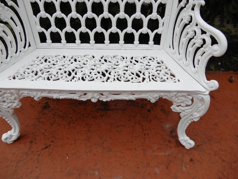 Cast Iron Antique Gothic White House Garden Benches For Sale 4