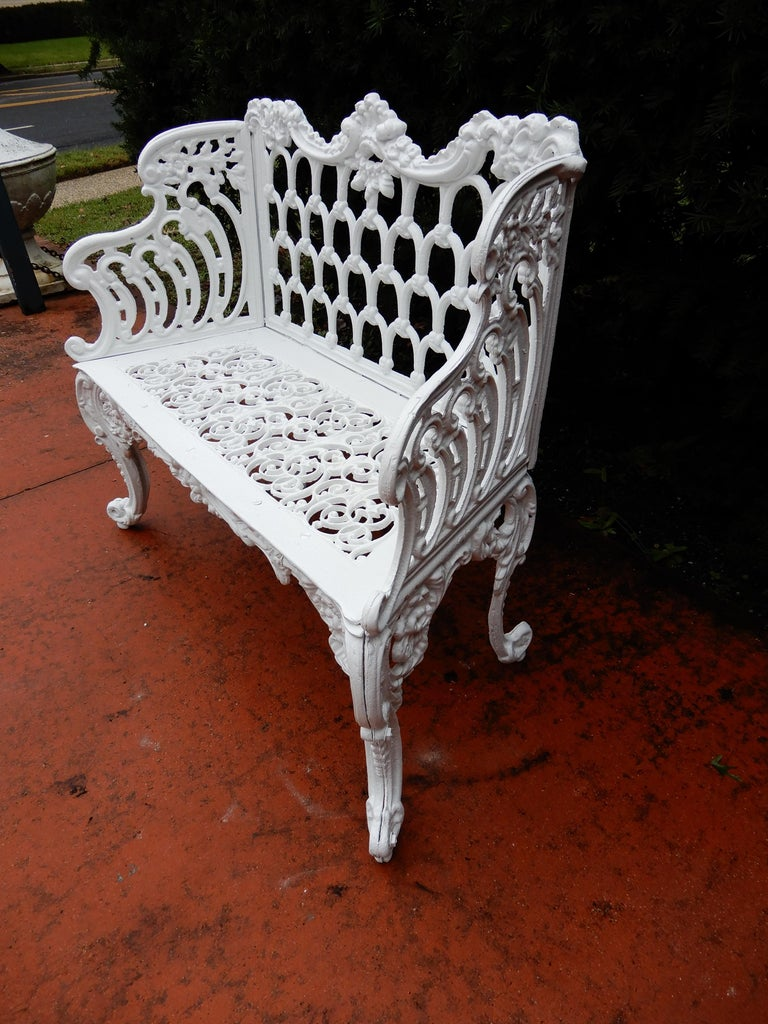 Cast Iron Antique Gothic White House Garden Benches For Sale 5