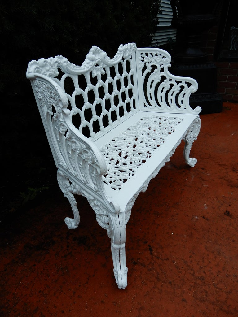 Cast Iron Antique Gothic White House Garden Benches For Sale 6