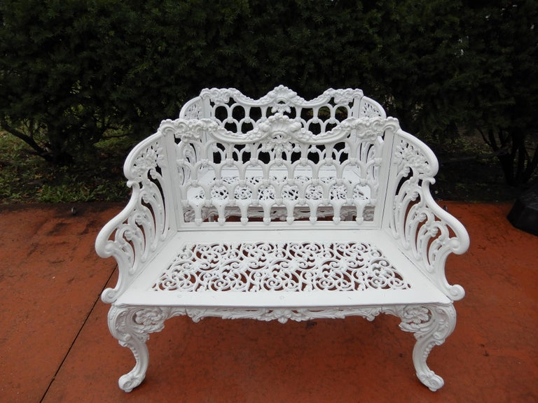 Folk Art Cast Iron Antique Gothic White House Garden Benches For Sale