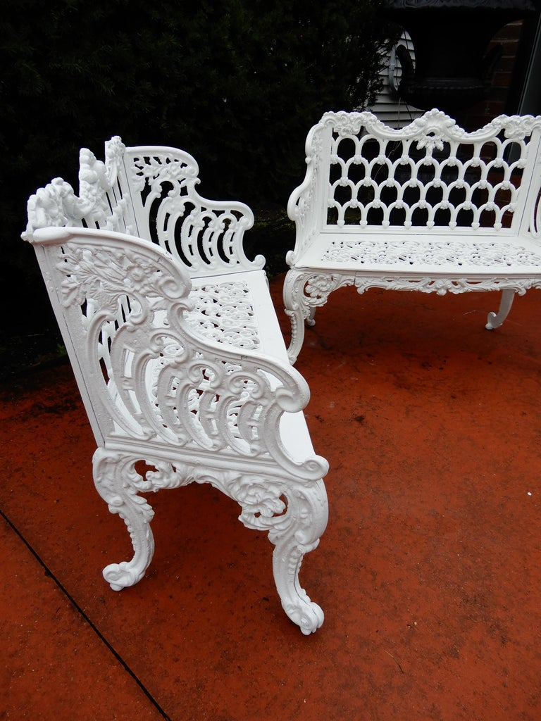 American Cast Iron Antique Gothic White House Garden Benches For Sale