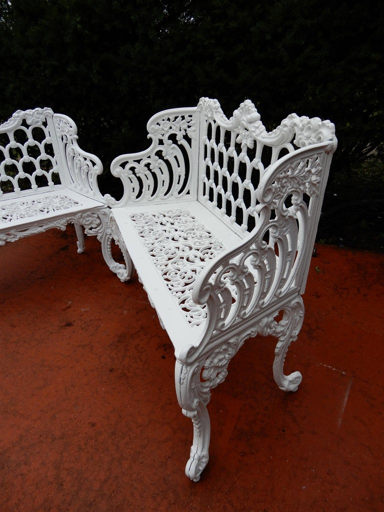 Cast Iron Antique Gothic White House Garden Benches In Good Condition For Sale In Long Island, NY