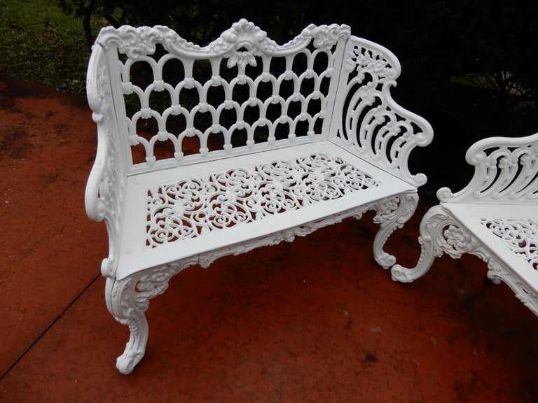 Early 20th Century Cast Iron Antique Gothic White House Garden Benches For Sale