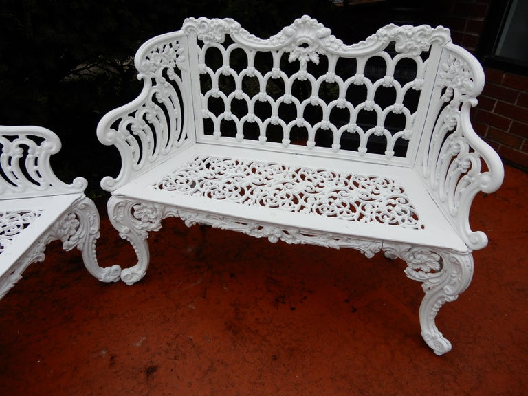 Cast Iron Antique Gothic White House Garden Benches For Sale 1