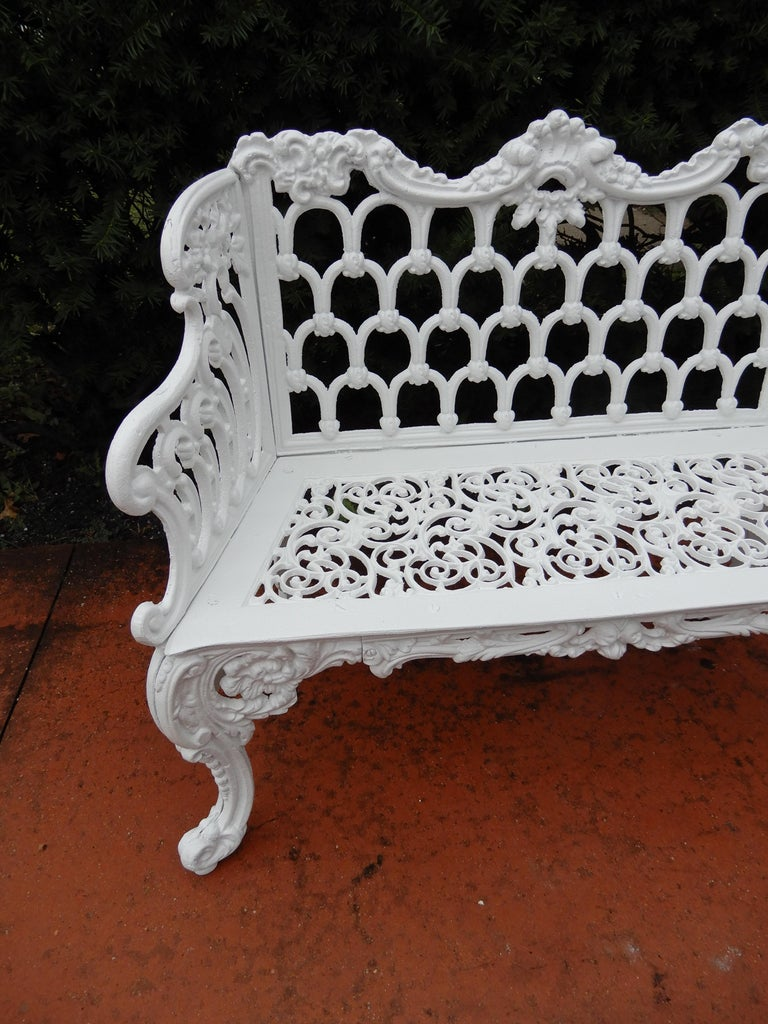 Cast Iron Antique Gothic White House Garden Benches For Sale 2