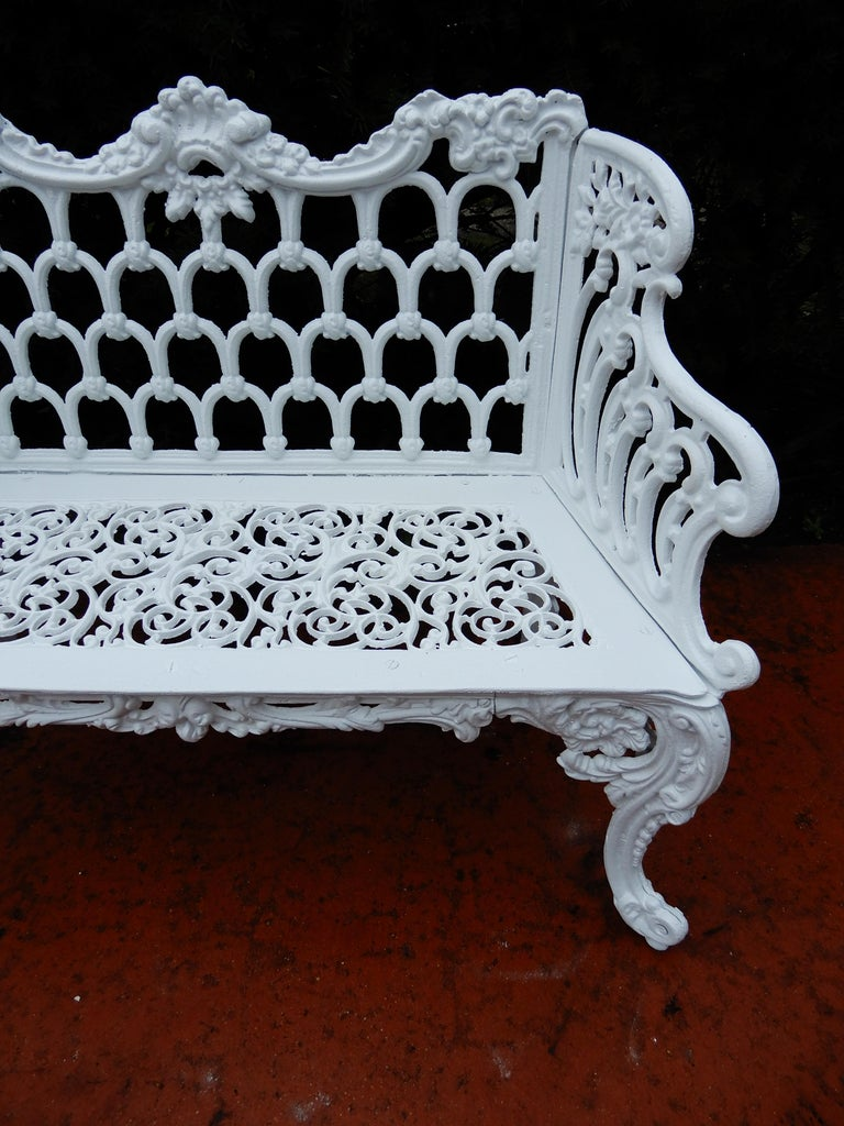 Cast Iron Antique Gothic White House Garden Benches For Sale 3