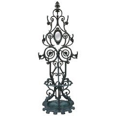 Cast Iron Art Nouveau Style Coat Rack and Umbrella Stand