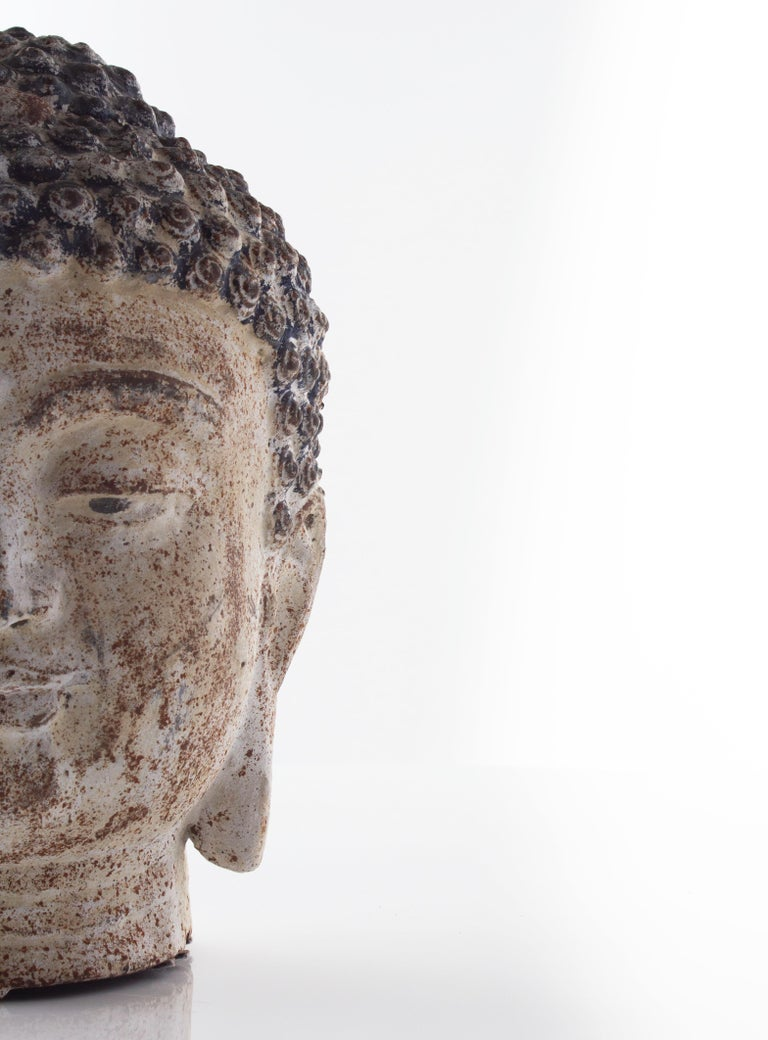 Indonesian Cast Iron Bust of Budda For Sale