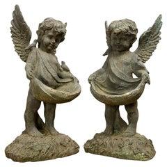 Cast Iron Cherub Statuettes, 20th Century