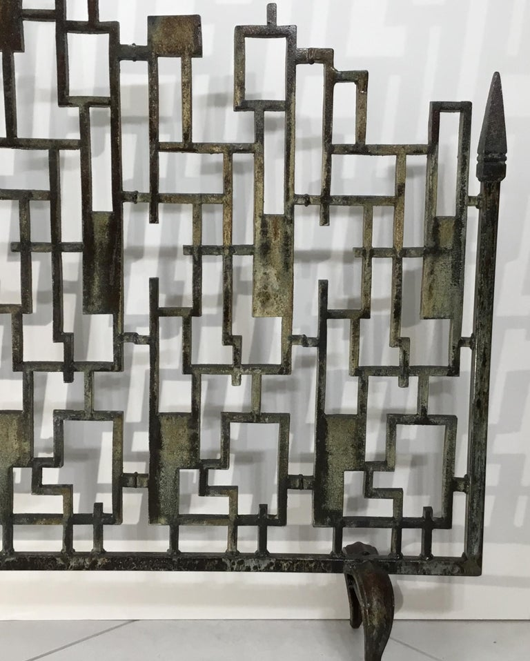Contemporary Cast Iron Cityscape Fireplace Screen For Sale