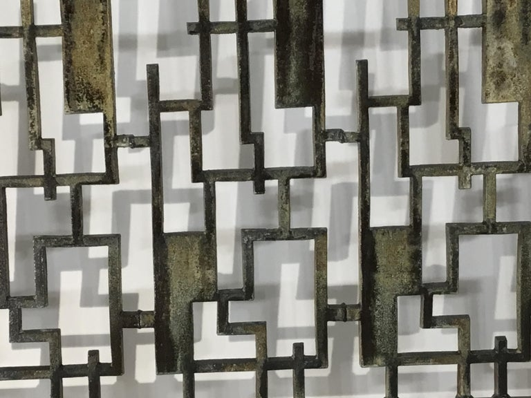 Cast Iron Cityscape Fireplace Screen For Sale 3