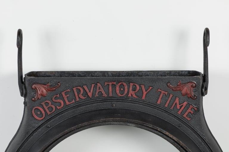 Very cool cast iron clock face surround, observatory time. Double-sided with great paint surface. Substantial heavy duty iron hooks. Lots of potential to get creative with this piece. Would make a very cool double sided bathroom mirror over back to