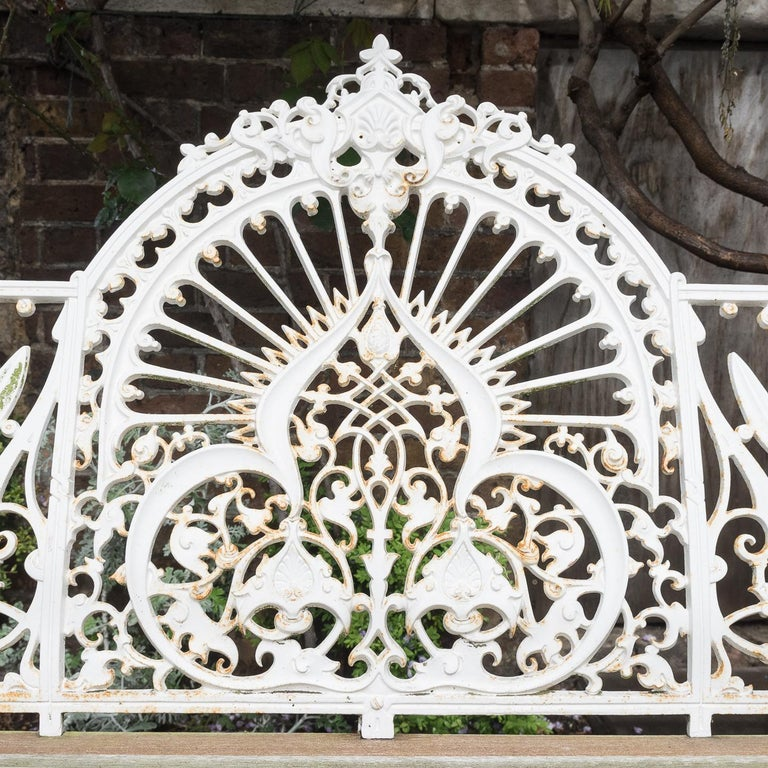 Cast Iron Coalbrookdale Style Garden Bench For Sale 4