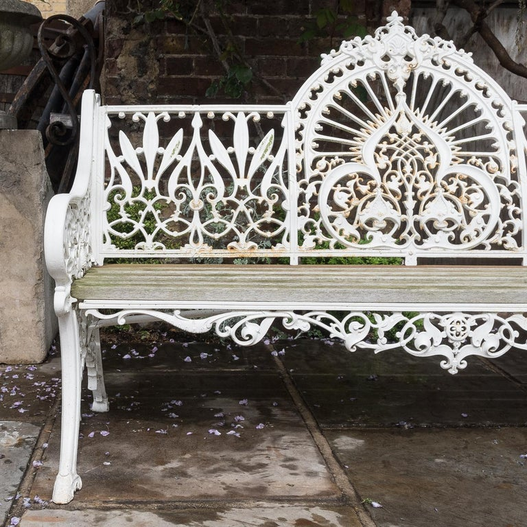 Cast Iron Coalbrookdale Style Garden Bench For Sale 6