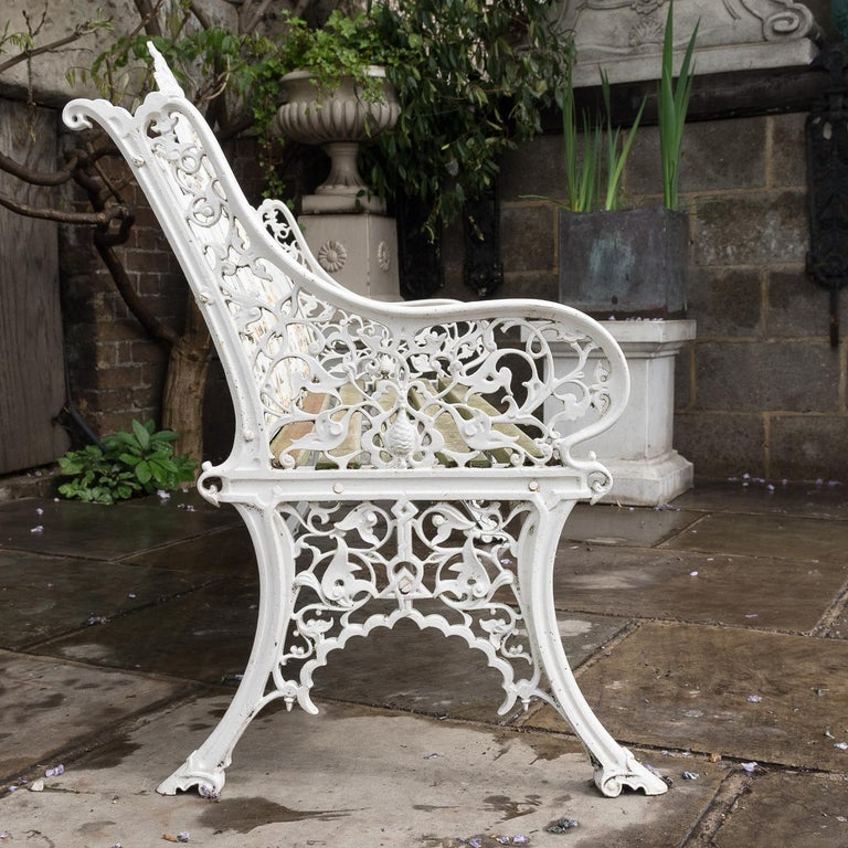 British Cast Iron Coalbrookdale Style Garden Bench For Sale