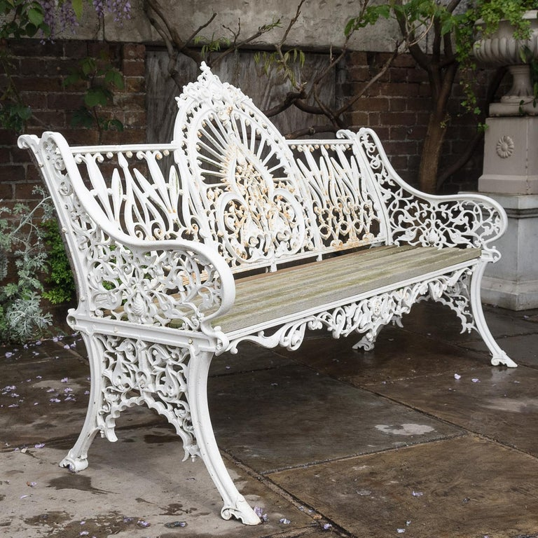 Cast Iron Coalbrookdale Style Garden Bench In Fair Condition For Sale In London, GB