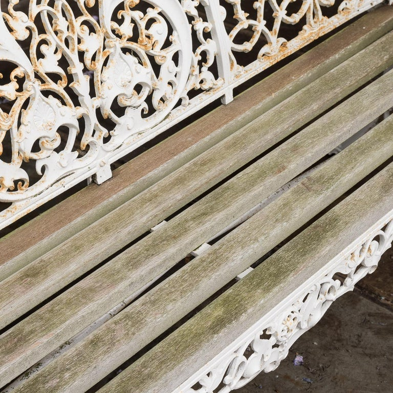 20th Century Cast Iron Coalbrookdale Style Garden Bench For Sale