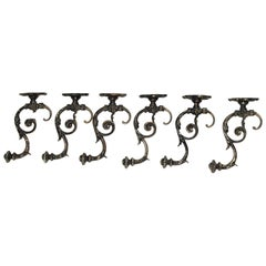 Cast Iron Coat Hooks, 1880s, Set of 6