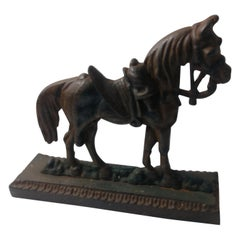 Cast Iron Doorstop of a Horse with Full Gear, circa 1940