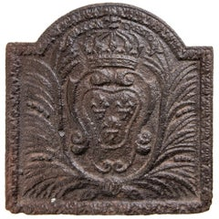 Cast Iron Fireplace Plate with Heraldic Emblem
