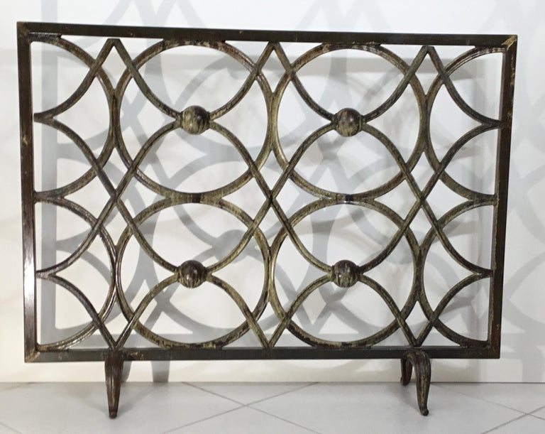 Elegant fireplace screen made of cast iron, artistic circular motif all around with great looking patina. Treated and sealed for rust. Beautiful object of art for the fireplace.