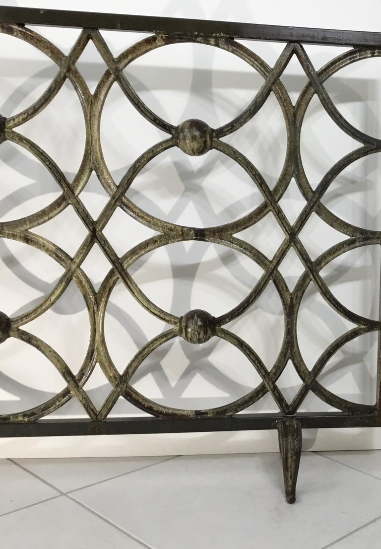 Contemporary Cast Iron Fireplace Screen For Sale
