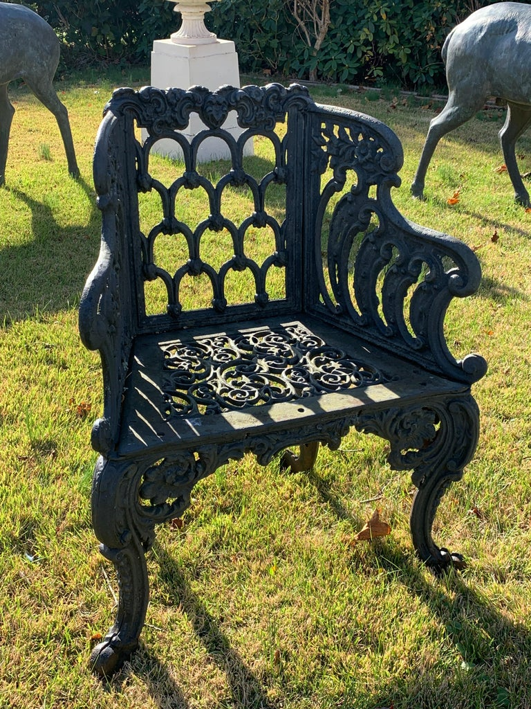 Cast iron garden bench and chair set with Gothic pattern, extremely heavy pieces. A similar set is used in the Rose Garden at the White House in Washington DC.  Measures: Bench: 60