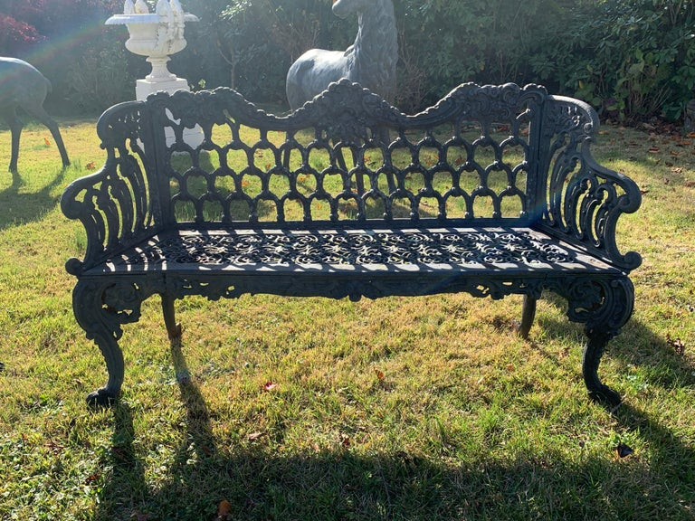 Cast Iron Garden Bench and Chair Set, circa 1880 In Good Condition For Sale In Southampton, NY